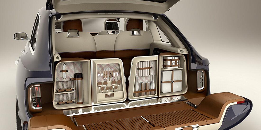 03/2012, Bentley EXP9 SUV Genf, Kofferraum, Picknickausrüstung