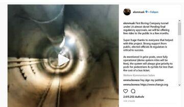 05/2018, Boring Company Elon Musik Tunnel LA Instagram Post