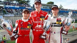 12 Luis Felipe Derani (BR, Fortec Motorsports, Dallara F312 Mercedes), 1 Raffaele Marciello (I, Prema Powerteam, Dallara F312 Mercedes), 14 Alexander Sims (GB, Threebond with T-Sport, Dallara F312 ThreeBond Nissan)