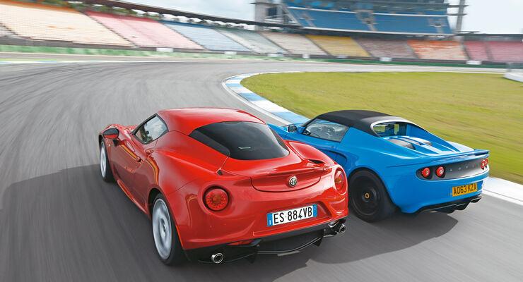 Alfa Romeo 4C, Lotus Elise S Club Racer, Heckansicht
