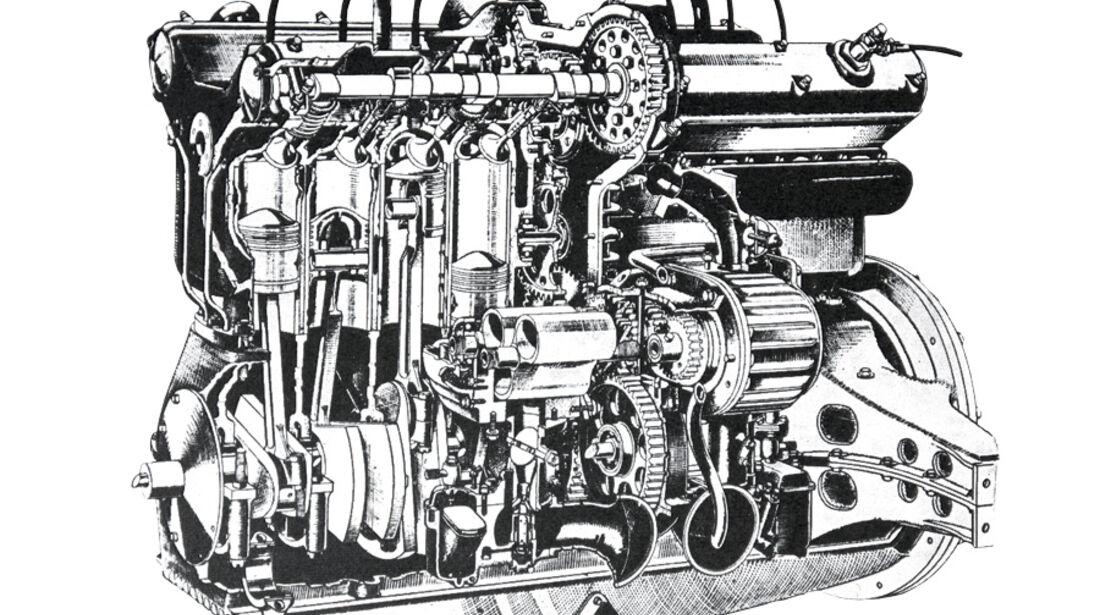 Alfa Romeo 8C 2300 Skizze Motor