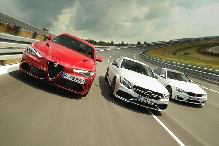 Alfa romeo giulia qv mercedes c 63 s und bmw m3 im test for Alfa romeo vs mercedes benz