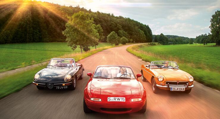 Alfa Spider, Mazda MX-5, MGB, Frontansicht