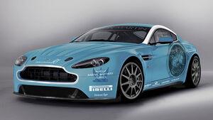 Aston Martin V12 Vantage-Rennwagen auf dem 24-Stunden-Rennen am Nürburgring