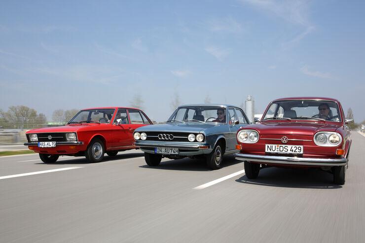 Audi 100 LS, VW 411 LE, VW K 70 L, Frontansicht