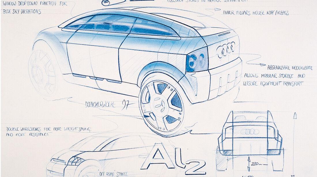 Audi A2, Auto der Woche, AL2 Designzeichnungen