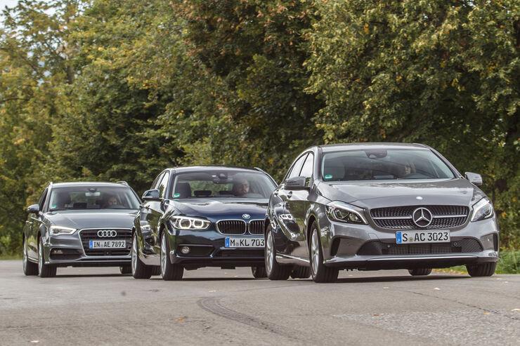 Audi A3 Sportback 1.4 TFSI COD, BMW 118i, Mercedes A 180, Frontansicht