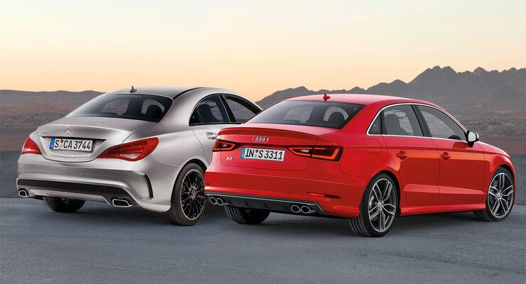 Audi A3 Stufenheck, Mercedes CLA 45 AMG, Heckansicht
