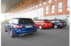 Audi A4 Avant 1.8 TFSI, BMW 320i Touring, Mercedes C 200 T, Heckansicht