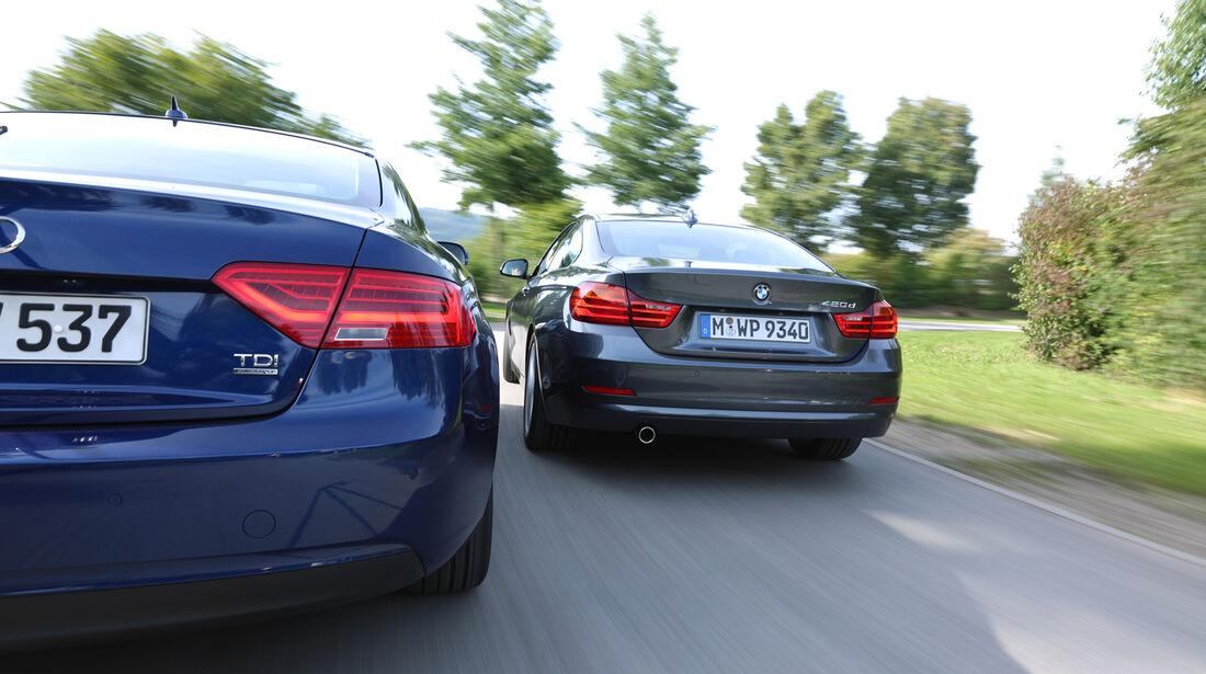 Audi A5 Coupé 2.0 TDI Quattro, BMW 420d, Heckansicht