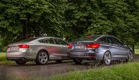 Audi A5 Sportback 3.0 TFSI, BMW 335i GT, Heckansicht