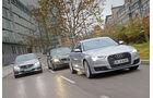 Audi A6 3.0 TDI Quattro, BMW 530d, Mercedes E 350 Bluetec, Frontansicht