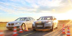 Audi A6 Avant 2.0 TDI Ultra, BMW 520d Touring, Frontansicht