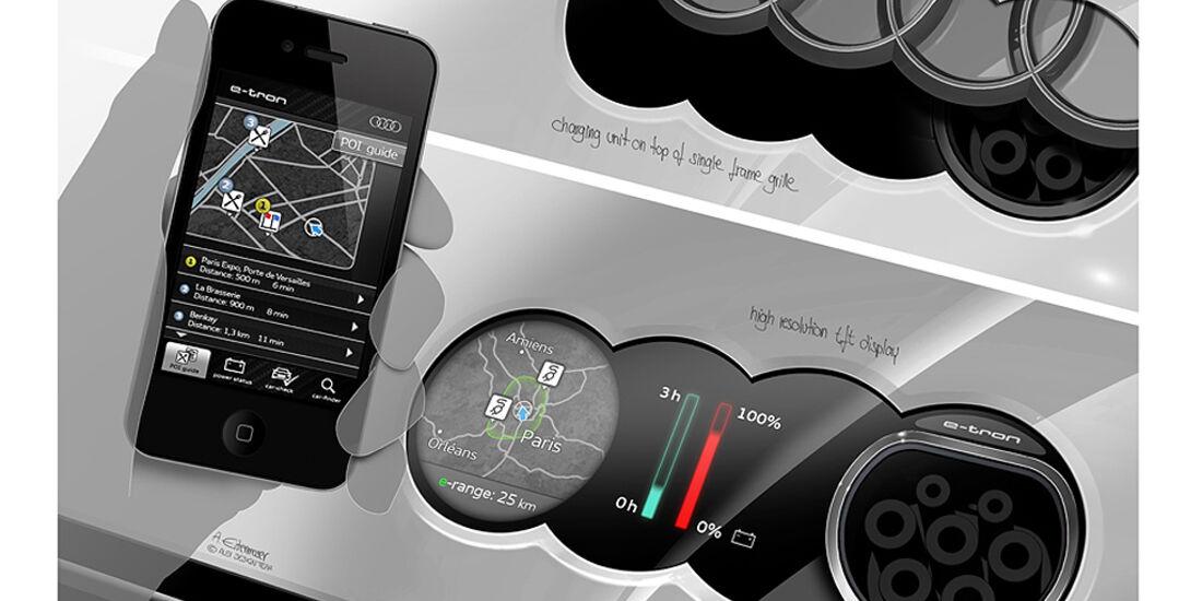 Audi E-Tron Spyder, Designskizze, Innenraum, Cockpit, Anzeige