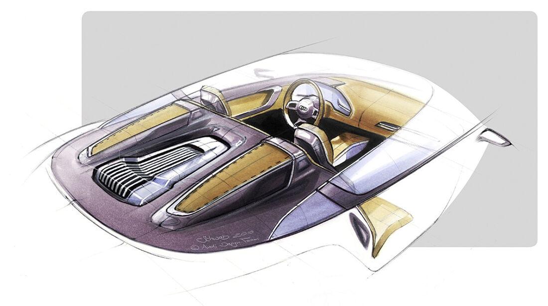 Audi E-Tron Spyder, Designskizze, Innenraum