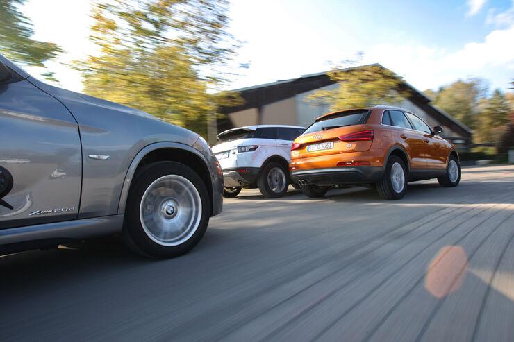 Audi Q3 2.0 TDI Quattro, BMW X1 x-Drive 20d, Range Rover Evoque SD4