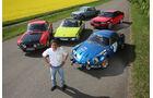 Audi Quattro, BMW 2002 tii, Lancia Fulvia Coupé, Renault Alpine A110, VW-Porsche 914