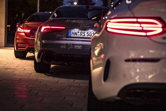 Audi RS 5 Coupé, BMW M4 Competition, Mercedes-AMG C 63 Coupé, Exterieur, Heck