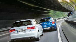 Audi S3, BMW M135i xDrive, Heckansicht