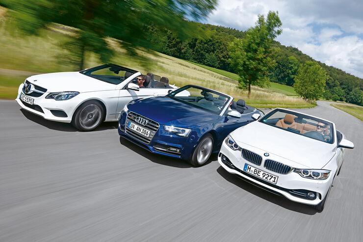 Audi S5 Cabrio, BMW 435i Cabrio, Mercedes E 400 Cabrio, Frontansicht