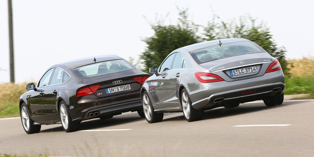 Audi S7 Sportback, Mercedes CLS 500 4matic, Heckansicht