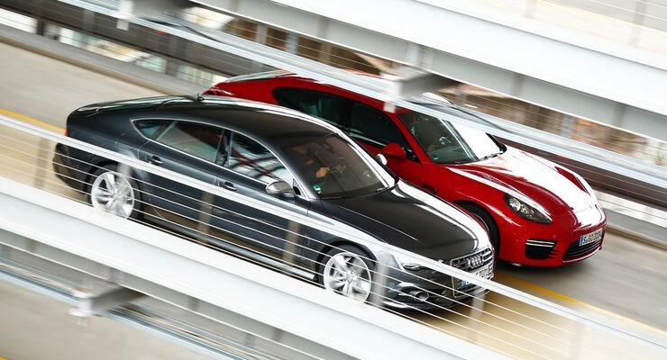 Audi S7 Sportback, Porsche Panamera GTS, Seitenansicht