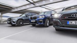 Audi SQ5 3.0 TFSI Quattro, BMW X3 M40i xDrive, Mercedes-AMG GLC 43 4Matic, Exterieur Front