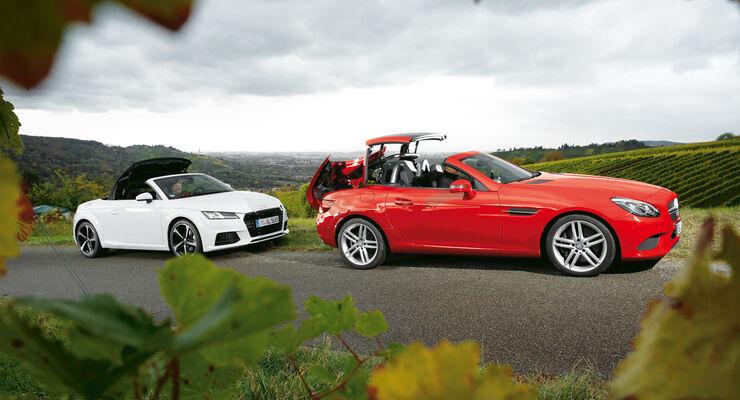Audi TT 2.0 TDI Ultra, Mercedes SLC 250 d, Seitenansicht