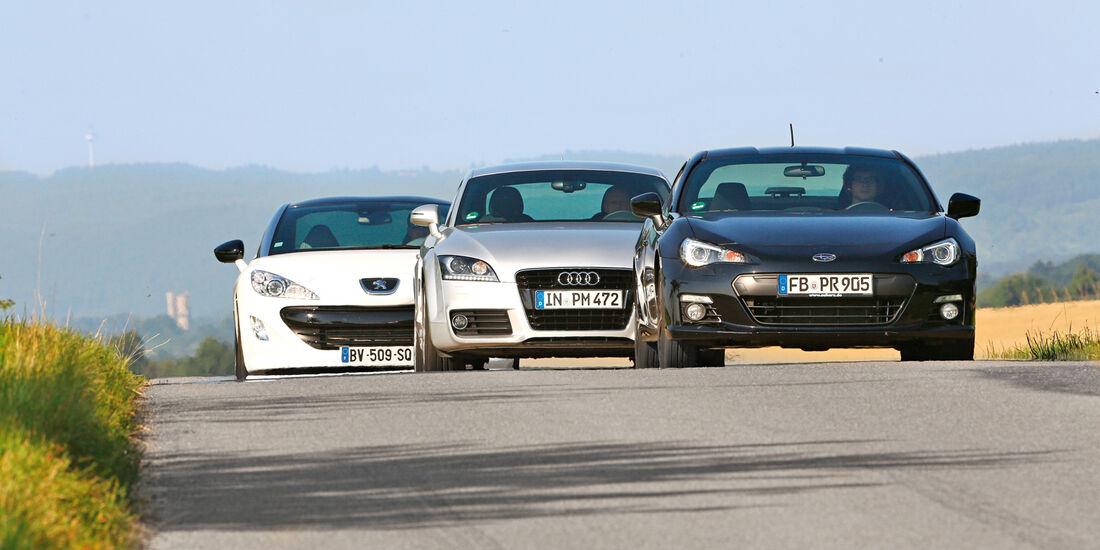Audi TT, Peugeot RCZ, Subaru BRZ, Frontansicht
