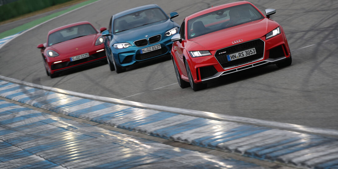 Audi TT RS Coupé, BMW M2 Coupé DKG, Porsche 718 Cayman GTS PDK, Exterieur