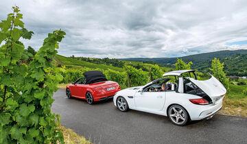 Audi TT Roadster 2.0 TFSI, Mercedes SLC 300, Verdeck öffnet