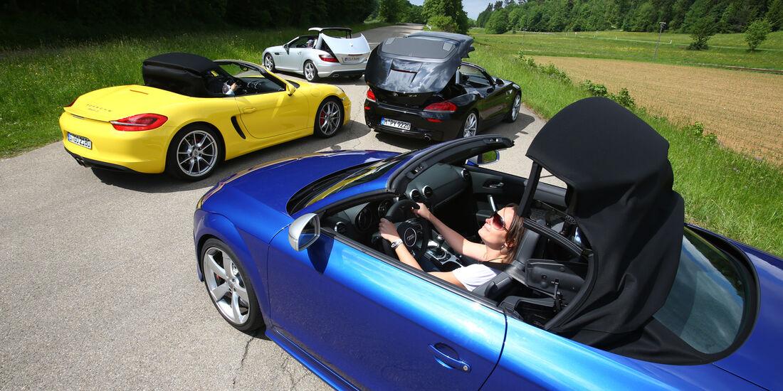 Audi TT Roadster, BMW Z4, Mercedes SLK, Porsche Boxster, Heckansicht
