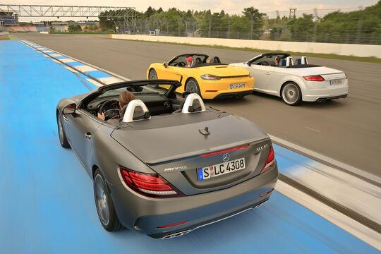 Audi TTS Roadster, Mercedes-AMG SLC 43, Porsche 718 Boxster, Heckansicht