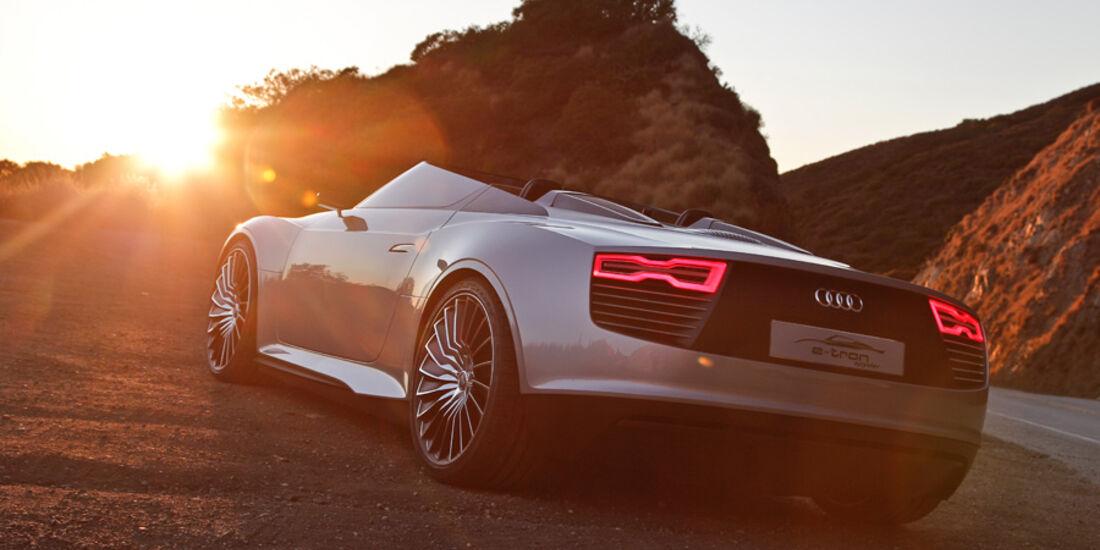 Audi e-tron Spyder, Heck, Abendstimmung