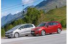 BMW 218d Active Tourer, VW Golf Sportsvan 2.0 TDI, Seitenansicht