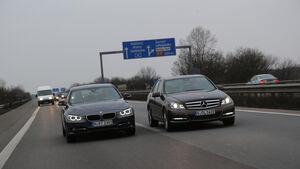 BMW 316d, Mercedes C 180 CDI, Frontansicht