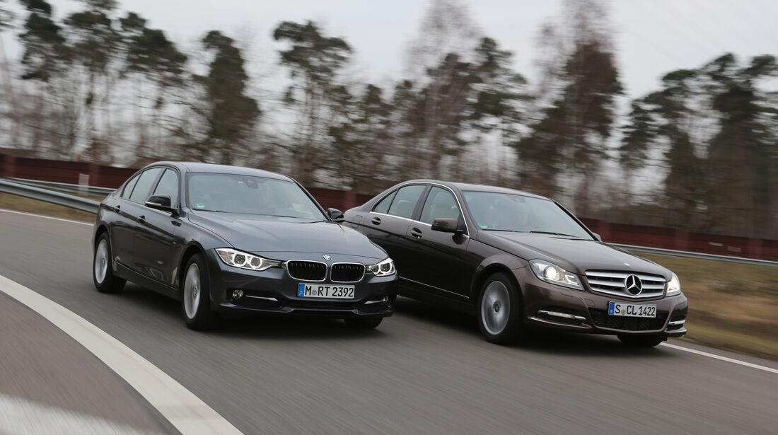 BMW 316d, Mercedes C 180 CDI, Seitenansicht