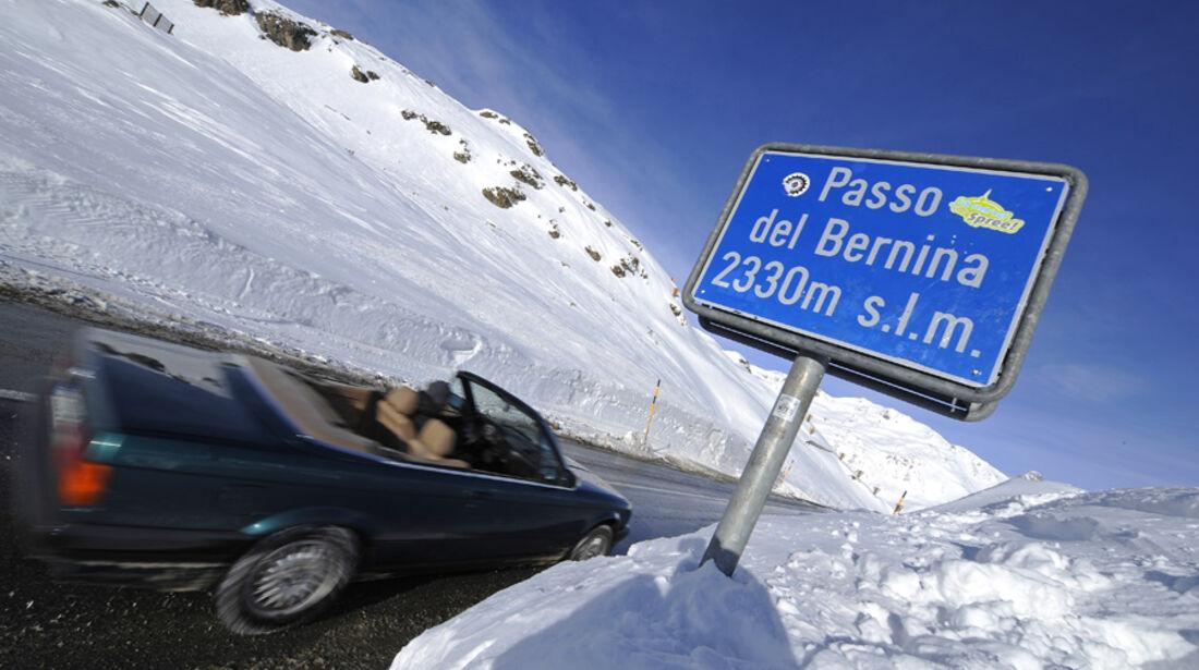 BMW 318i Cabriolet in den Alpen