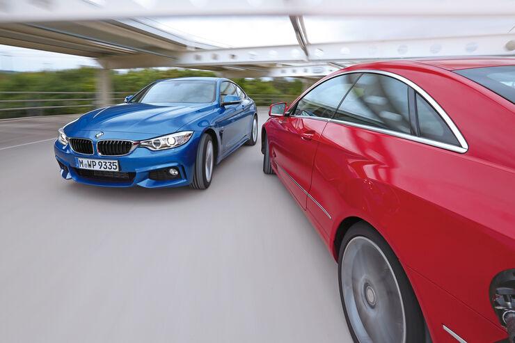 BMW 428i, Mercedes E 250 Coupé, Fahrt