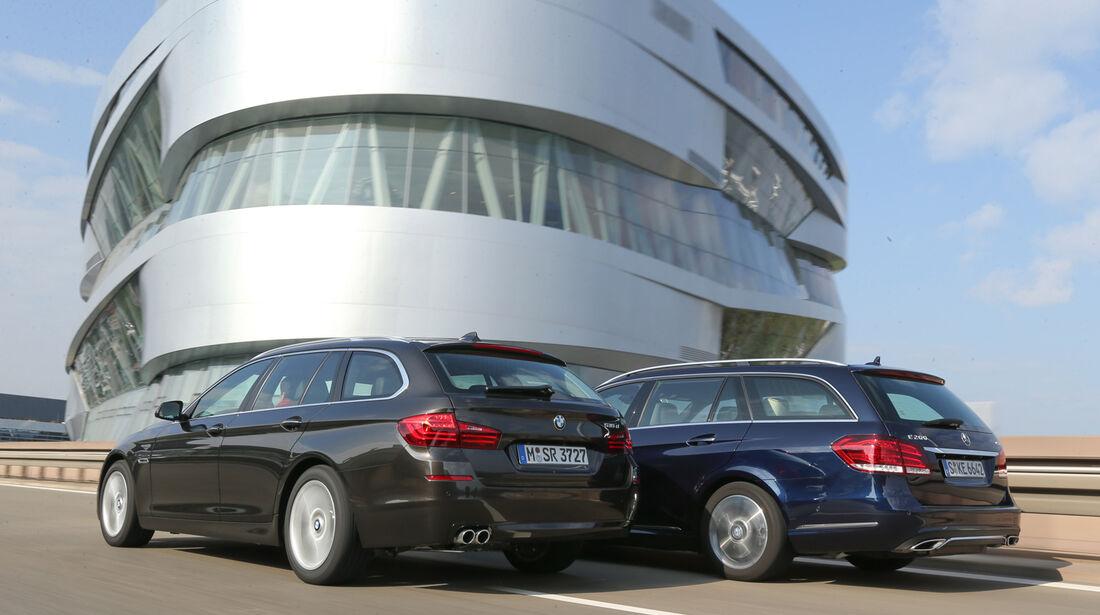 BMW 518d Touring, Mercedes E 200 CDI T, Heckansicht