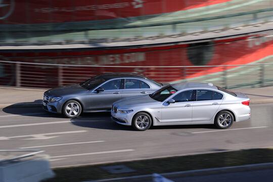 BMW 520d, Mercedes E 220 d, Seitenansicht