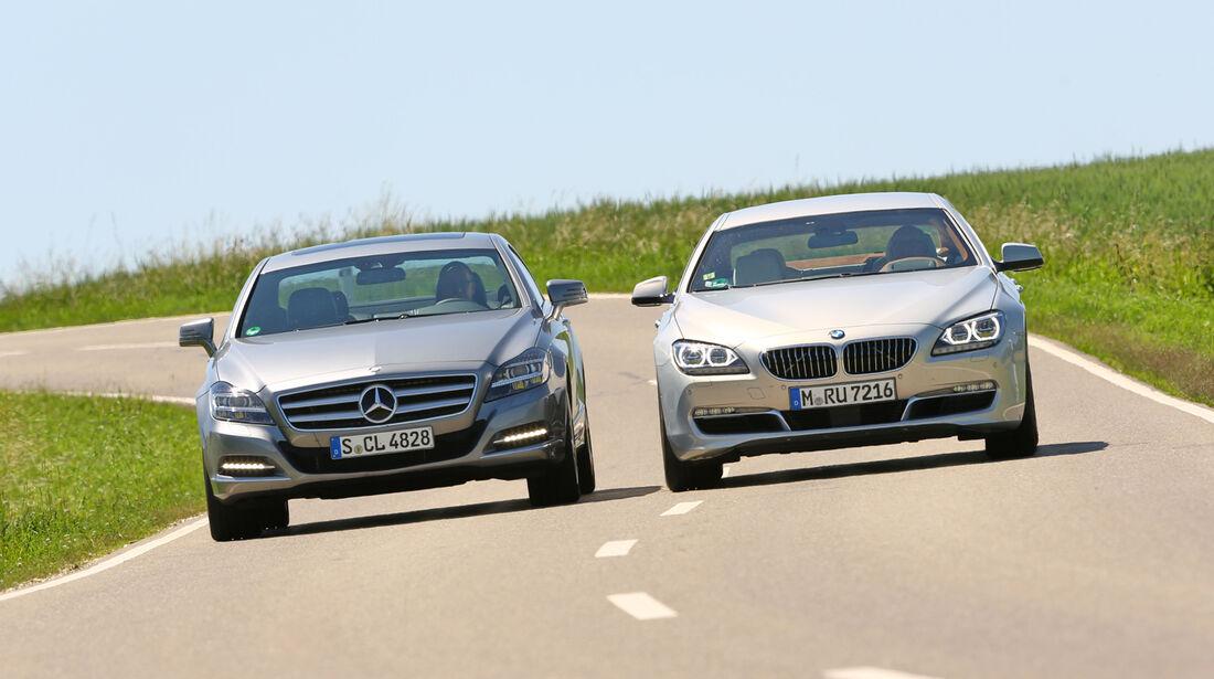 BMW 640i Gran Coupé, Mercedes CLS 350, Frontansicht