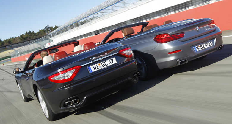 BMW 650i Cabriolet, Maserati GranCabrio, Rückansicht, Beide Fahrzeuge