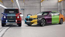 BMW 7er und Mercedes G bunt
