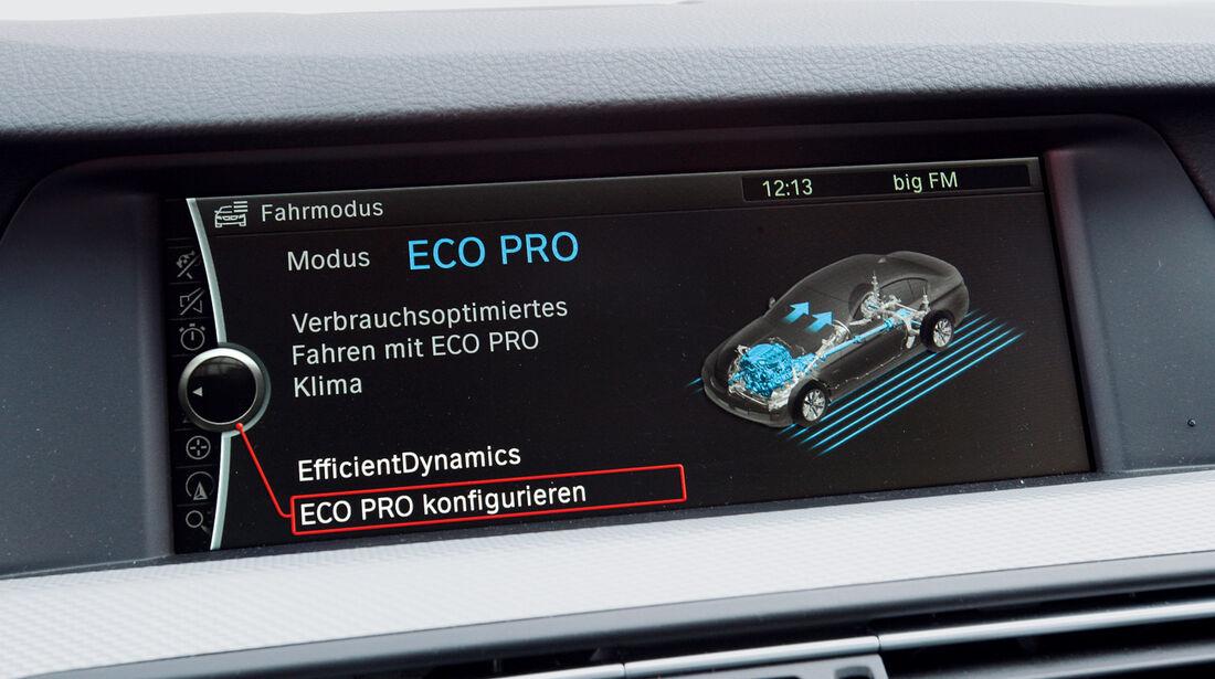 BMW M550d x-Drive, Bildschirm, Eco Modus