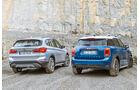 BMW X1 18d sDrive, Mini Countryman Cooper D, Heckansicht