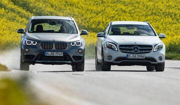 BMW X1 20i xDrive, Mercedes GLA 220 4Matic, Frontansicht