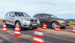 BMW X3 20d xDRIVE, Volvo XC60 D4 AWD, Frontansicht