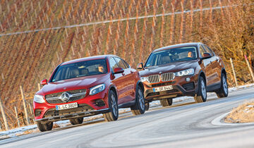 BMW X4 xDrive 28i, Mercedes GLC 300 4Matic Coupé, Frontansicht