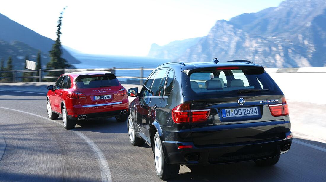 BMW X5 M50d, Porsche Cayenne S Diesel, Heckansicht